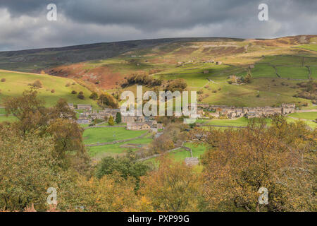 Yorkshire Dales National Park autumn landscape, the village of Gunnerside, Swaledale, UK - Stock Image