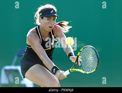 Johanna Konta (a.k.a. Jo Konta), professional tennis player representing the United Kingdom, plays a shot during a singles match in 2018. - Stock Image