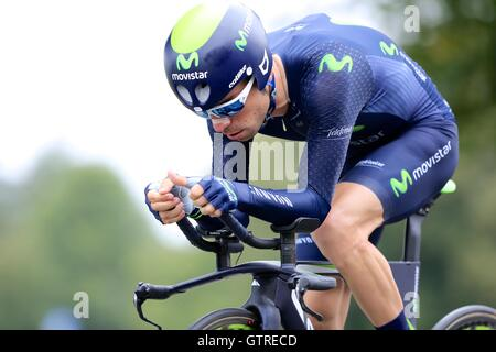 Bristol, UK.  10th September 2016. Tour of Britain stage 7a, time trial.  Giovanni Visconti of Team Movistar Credit: - Stock Image