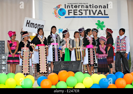 International Festival and Fashion Show participants from Laos and Thailand in traditional dress held on June 7, - Stock Image