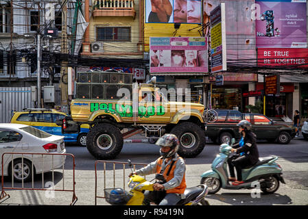 Monster truck vehicle  moving through the traffic in Pattaya Thailand - Stock Image