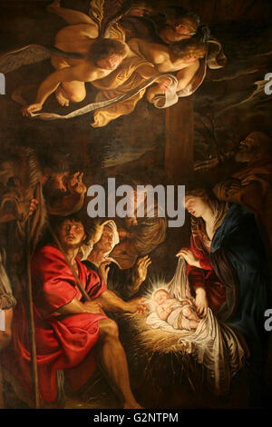'Adoration of the Shepherds' (oil on canvas) by Peter Paul Rubens in 1608 - Stock Image