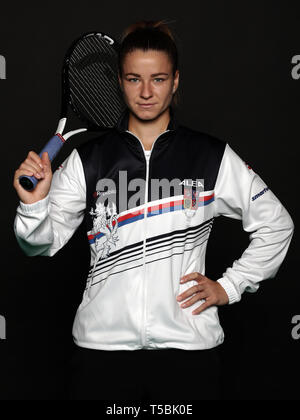 Czech tennis player Karolina Muchova poses for the photographer prior to the Czech Republic vs Canada Fed Cup relegation contest, on April 18, 2019, i - Stock Image