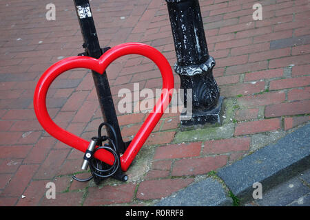 heart shaped bicycle stand, Brighton United Kingdom - Stock Image