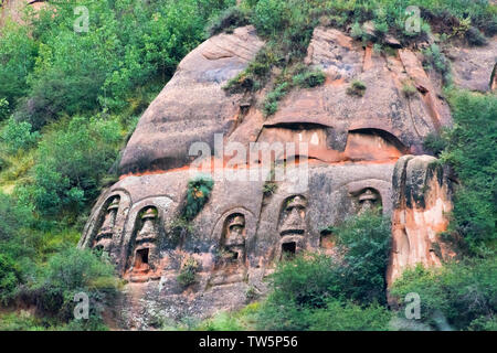 Grottoes in Mati Temple Scenic Area, Zhangye, Gansu Province, China - Stock Image