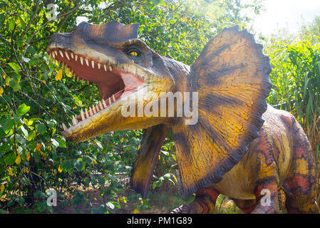 Dilophosaurus dinosaur model with open mouth aggressive roaring - Stock Image