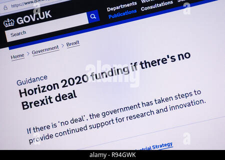 Computer screenshot of the gov.uk website showing information about Horizon 2020 funding if there is no Brexit deal - Stock Image
