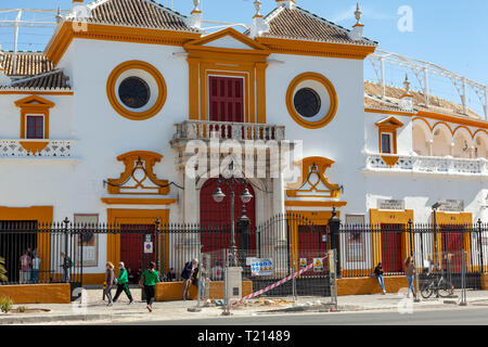 Bullring at Seville, Spain Plaza de toros de la Real Maestranza - Stock Image
