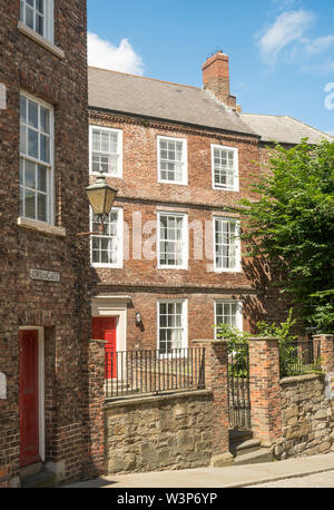 Listed 18th century town houses in Owengate, Durham City, England, UK - Stock Image