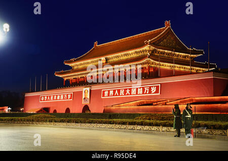 Two guards in front of Tiananmen, Beijing - Stock Image
