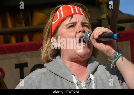 London, UK. 13th October 2018.  Paula Peters of DPAC speaks at the rally in London to oppose racism  and fascism close to where the racist, Islamophobic DFLA were ending their march on Whitehall bringing together various groups to stand in solidarity with the communities the DFLA attacks. The event was organised by Stand Up To Racism and Unite Against Fascism. Peter Marshall/Alamy Live News - Stock Image