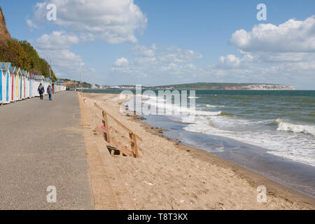 Culver Down as seen from the walk along the seafront between Shanklin and Sandown - Stock Image