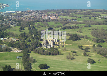 Aerial view of Osborne House on the Isle of Wight, which is the former royal residence of Queen Victoria - Stock Image