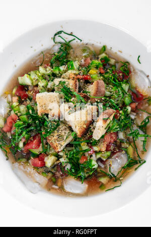 portuguese algarve style traditional cold vegetable gazpacho soup in white bowl close up - Stock Image