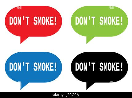 DON'T SMOKE_1 text, on rectangle speech bubble sign, in color set. - Stock Image