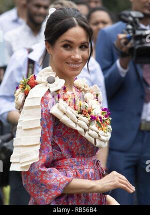 Britain's Prince Harry and his wife Meghan, Duchess of Sussex  visit  the University of the South Pacific in Suva on October 24, 2018. - Stock Image