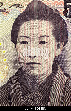 Ichiyo Higuchi (1872-1896) on 5000 Yen 2004 banknote from Japan. Japanβ€²s first prominent woman writer of - Stock Image
