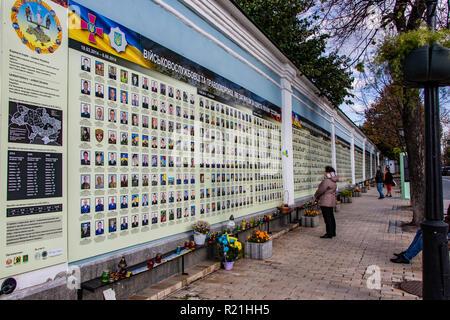 memorial wall to fallen soldiers in the war Ukraine Kiev 06.11.2018 - Stock Image
