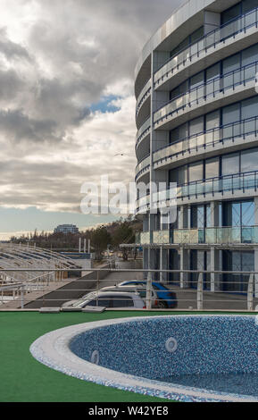 Odessa, Ukraine - 12.27.2018. Luxury private buildings on the coast of the city of Odessa in Ukraine - Stock Image