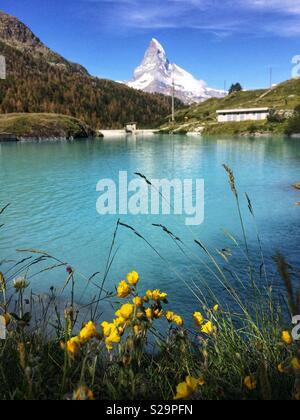 Moosjiesee lake. Five lakes trail in Rothorn Paradise: one of top five lakes destination around matterhorn Peak in Zermatt, Switzerland, Europe - Stock Image