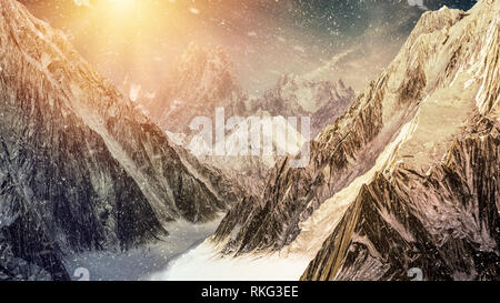High mountains under the dramatic sunset sky with snow falling. 3D render illustration. - Stock Image