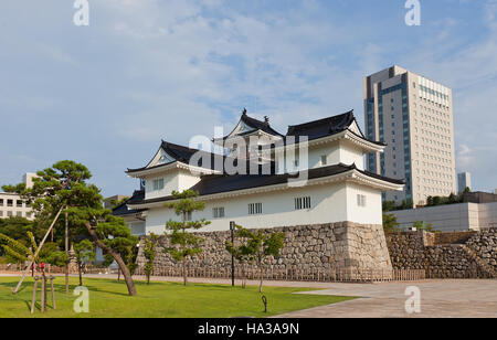 Reconstructed Toyama castle. Castle was founded in 1543 by Jinbo Nagamoto, dismantled in 1870, reconstructed in - Stock Image