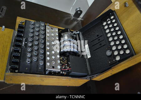 An Enigma Machine at Bletchley Park, Milton Keynes, Buckinghamshire, UK - Stock Image