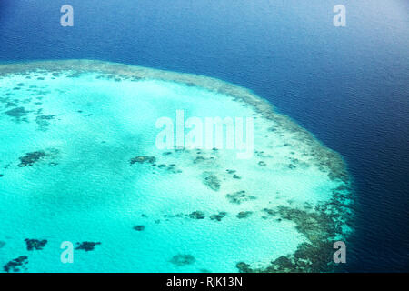 Maldives atoll and coral reef, aerial view, the Maldives, Asia - Stock Image
