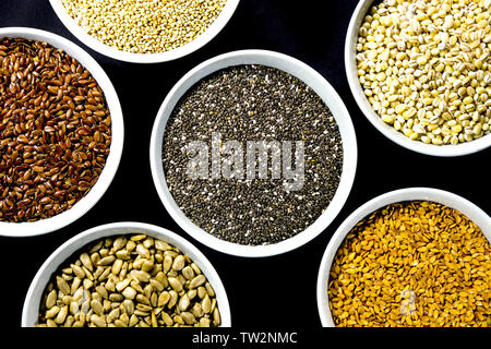 Selection of Healthy Eating Seeds and Natural Grains - Stock Image