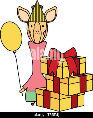cute giraffe with balloon helium and gifts in birthday party vector illustration design - Stock Image
