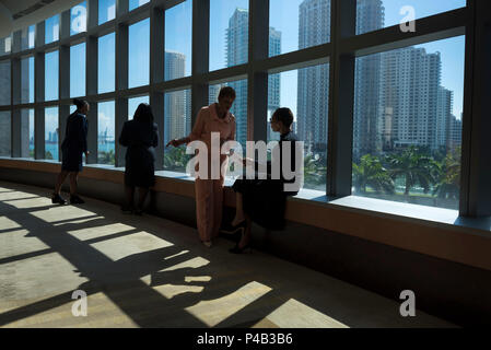 Professional women discuss business by picture windows overlooking urban city skyline, Miami, Florida - Stock Image