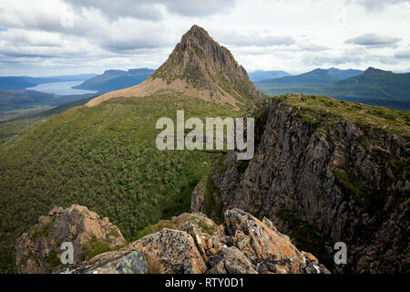 View from the top of Minotaurt to  Mount Gould in Cradle Mountain–Lake St Clair National Park, Tasmania - Stock Image