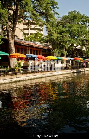 Café umbrellas along Riverwalk in San Antonio, Texas USA - Stock Image