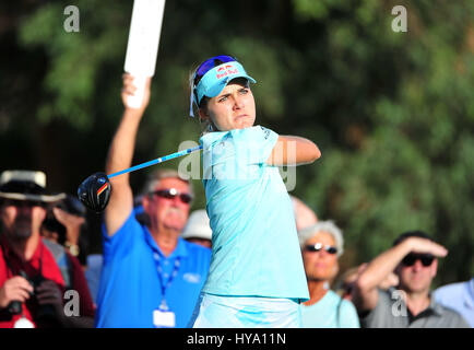 Rancho Mirage, California, USA. 2nd Apr, 2017. Lexi Thompson on the 16th tee during the final round of the ANA Inspiration - Stock Image