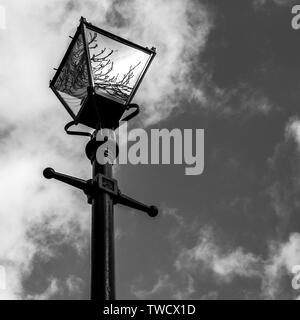 Victorian Lamp Post, london converted  Victorian gas street lamp. - Stock Image