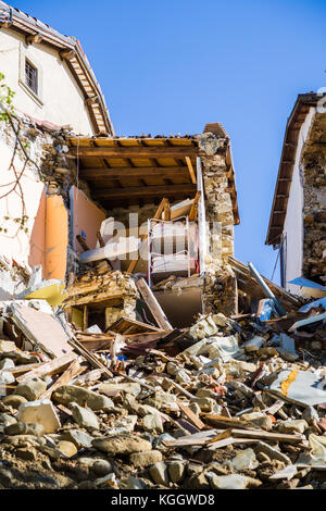 Retrosi of Amatrice,Italy,29 April 2017.The damage caused by the earthquake that hit central Italy in 2016. Retrosi - Stock Image