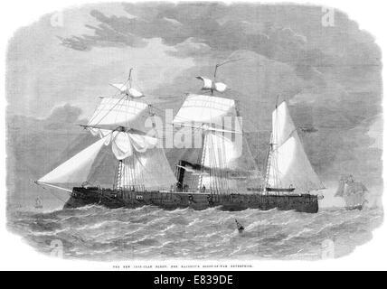 1864 Ironclad fleet steam sailing masted battleship sloop of war Enterprise - Stock Image