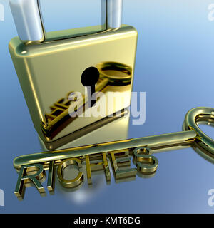 Padlock With Riches Key Showing Wealth Savings And Fortunes - Stock Image