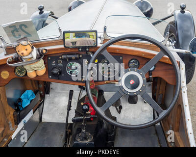 Cockpit of a 1935 8-cylinder Railton Sports Touring car at an Historic Motor Gathering in September 2018 at Saltburn Cleveland UK - Stock Image