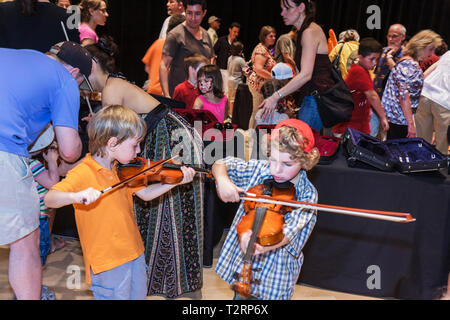 Miami Florida Adrienne Arsht Performing Arts Center centre Family Fest Instrument Discovery music hands on art education boy boy - Stock Image