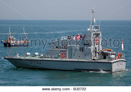 HMS Trumpeter coastal training craft at Lifeboat Launch Day, Selsey. - Stock Image