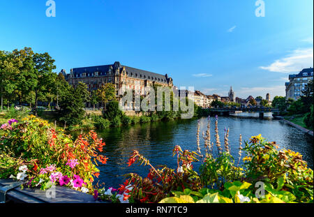 Strasbourg, Alsace, France, Gallia university students residence, Ill river, flowers, - Stock Image
