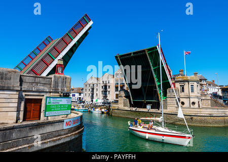 Weymouth bridge raised, Dorset, UK. - Stock Image