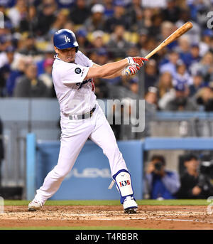 Kenta Maeda of the Los Angeles Dodgers bats against the Cincinnati Reds during the Major League Baseball game at Dodger Stadium in Los Angeles, United States, April 16, 2019. Credit: AFLO/Alamy Live News - Stock Image