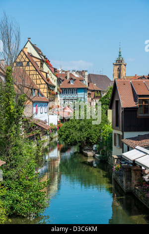 Canal in old medieval town centre of Colmar, Framce - Stock Image