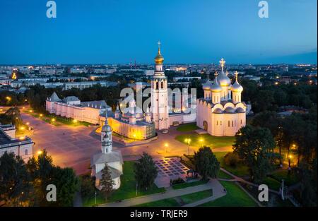 Aerial view of Vologda Kremlin at dusk, Vologda, Russia - Stock Image