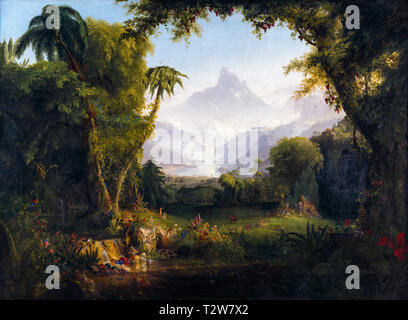 Thomas Cole, The Garden of Eden, painting, 1828 - Stock Image
