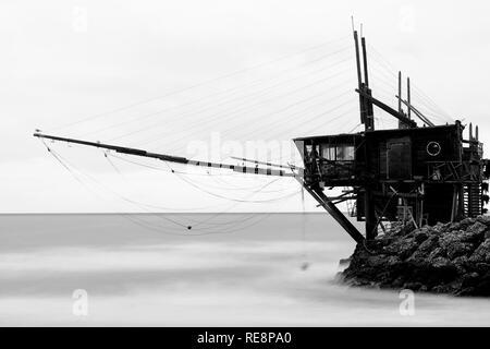 Trabucco - fishing machines on piles - Stock Image