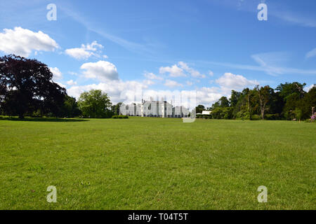 The grade II listed Neo-Classical elegant villa at Hylands House and Gardens, Writtle, Chelmsford, Essex, UK - Stock Image