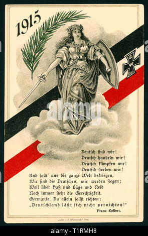 Germany, Saxony-Anhalt, Werningerode, WW I, propaganda, patriotic New Year postcard or Christmas postcard with an poet of Franz Kellert?: 'Deutsch sind wir ! Deutsch handeln wir ! (German we are ! German our doing !), with the Germania on a cloud, a black-white-red ribbon with an Iron Cross, a fir and the year1915, the postcard was sent 31. 12. 1914, published by Löffler and Co, Greiz. , Additional-Rights-Clearance-Info-Not-Available - Stock Image